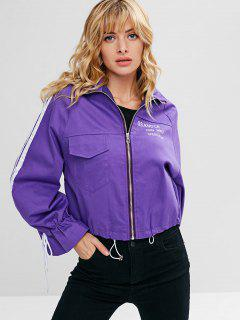 Letter Print Front Pocket Embellished Zip Jacket - Purple