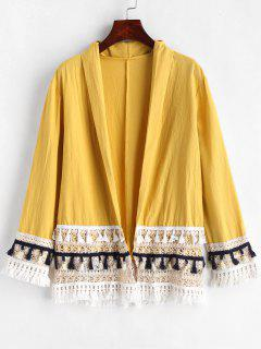 Chemisier Kimono En Crochet Avec Glands - Jaune Soleil L