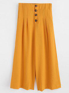 Wide Leg Button Fly Palazzo Pants - Orange Gold M