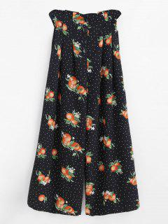 Wide Leg Fruit Print Palazzo Pants - Black L