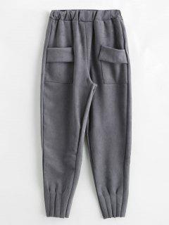 Solid Color Pants With Pockets - Gray M