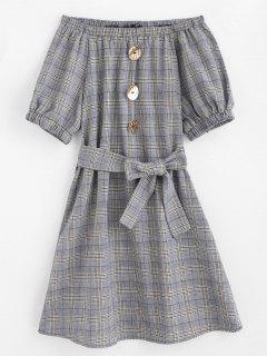 Off Shoulder Belted Plaid Dress - Gray S