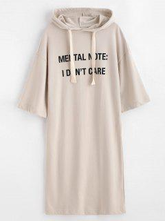 Letter Print Shift Hoodie Dress - Apricot S