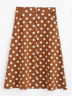 A Line Polka Dot Button Up Skirt - Brown S