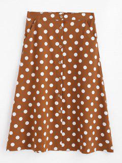 A Line Polka Dot Button Up Skirt - Brown M