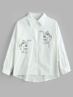 Chemise Asymétrique Graphique - Blanc