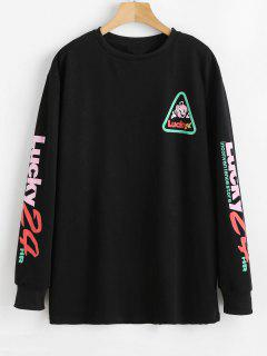 Letter Drop Shoulder Longline Sweatshirt - Black M