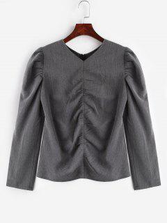 Zurück Zipper V-Ausschnitt Bluse - Rauchiges Grau Xl