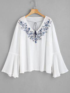Blusa Con Borlas Bordadas Con Flores - Blanco 2x