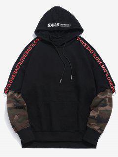 Spliced Camo False Two Piece Hoodie - Black M