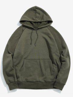 Basic Solid Pouch Pocket Fleece Hoodie - Army Green M