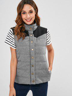 Contrast Yoke Quilted Waistcoat - Gray Xl