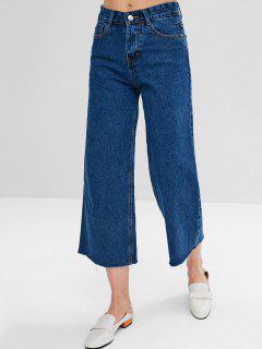 Frayed Hem Loose Jeans - Deep Blue M