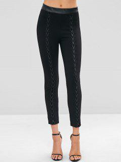 Faux Leather Trim Interlace Leggings - Black M