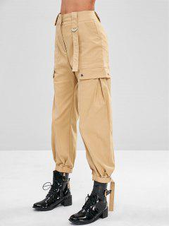 High Waisted Cargo Pants - Light Khaki M