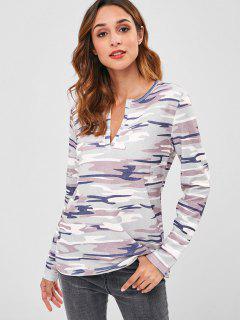 Split Neck Camo Print Long Sleeve Tee - Acu Camouflage L