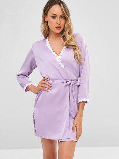 Lace Trim Satin Slip Dress And Sleep Robe - Mauve Xl