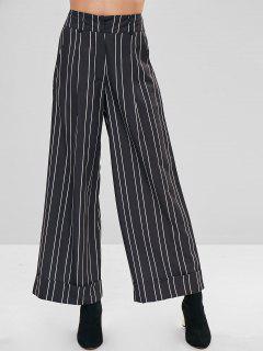 Striped High Waisted Wide Leg Pants - Black L
