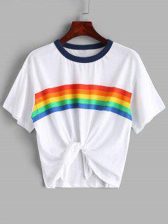 Regenbogen-Streifen-Grafik-Jersey-T-Stück - Weiß S