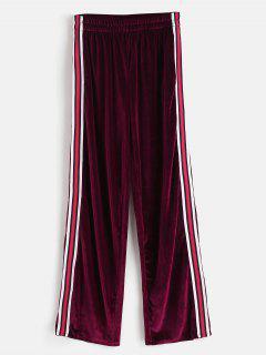 Pantalon Droit à Rayures En Velours - Rouge Vineux S