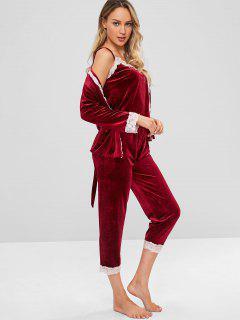 Three Piece Velvet Pajama Set - Red Wine M