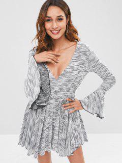 Langarm Bell Cuff Knit Skater Kleid - Multi M