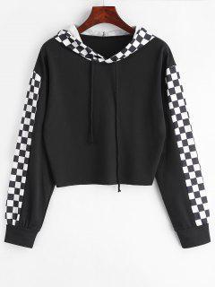 Checkerboard Plaid Raw Hem Hoodie - Black S