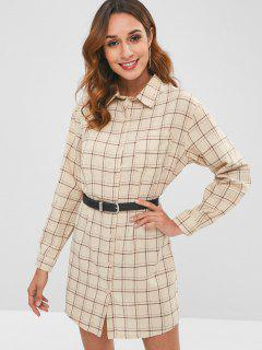 Long Sleeve Checked Shirt Dress - Multi L