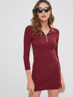Contrast Bodycon Dress With Half Zipper - Red Wine