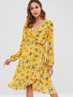 Floral Faux Wrap Ruffle Midi Dress - Yellow L