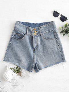 Frayed Hem High Waisted Denim Jeans - Denim Blue M