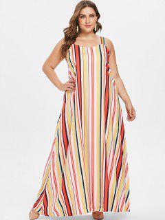 Keyhole Stripes Plus Size Dress - Multi 1x