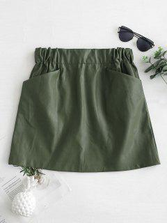 Pockets Mini PU Skirt - Army Green L