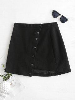 Snap Button Asymmetrical Mini Skirt - Black L