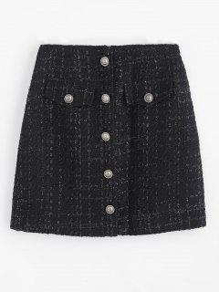 Tweed Buttoned Short Skirt - Black M