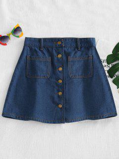 Button Up Denim Skirt - Denim Dark Blue L