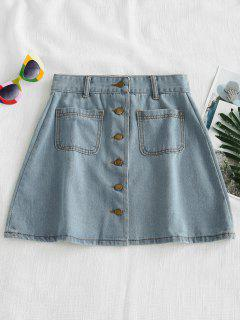 Button Up Denim Skirt - Jeans Blue L