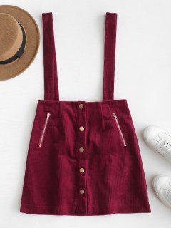 Button Up Corduroy Suspender Skirt - Red Wine L