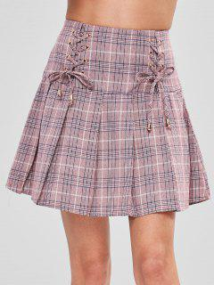 Lace Up Pleated Checked Mini Skirt - Multi S