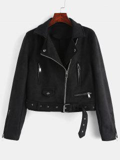 Zipped Belted Faux Suede Biker Jacket - Black M