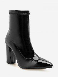 Chunky Heel Patent Leather Ankle Boots - Black Eu 37