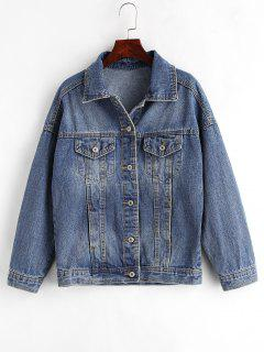 Crane Embroidered Button Up Jean Jacket - Denim Blue L