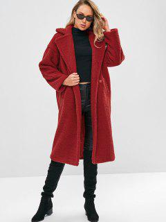 Long Faux Shearling Winter Coat - Red M