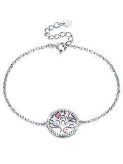 Elegant Round Tree Rhinestone Bracelet - Multi-a