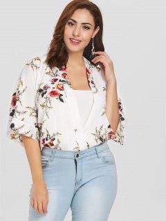 Floral Surplice Plus Size Blouse - White 3x