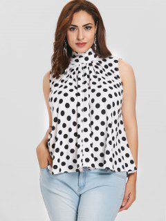 Plus Size Knotted Polka Dot Blouse - White 3x
