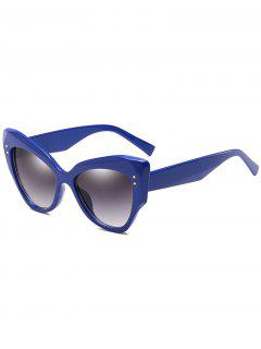 Anti Fatigue Full Frame Rivets Catty Sunglasses - Navy Blue