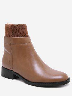 Chunky Heel Sock Panel Short Boots - Brown Eu 39