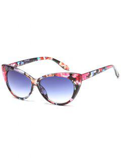 Flat Lens Full Frame Catty Sunglasses - Blue Gray