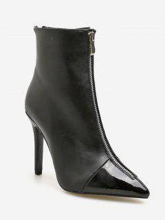 Pointed Toe High Heel Ankle Boots - Black Eu 36
